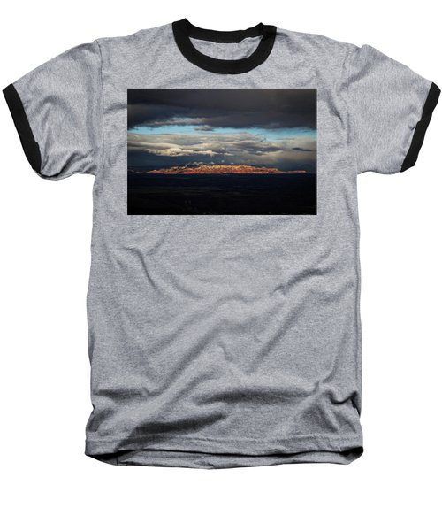 Baseball T-Shirt featuring the photograph Late Light On Red Rocks With Storm Clouds by Ron Chilston