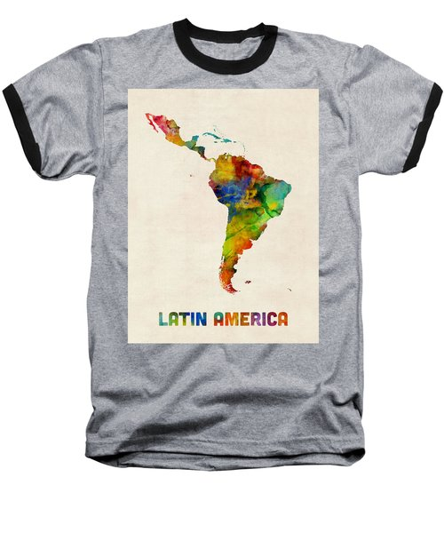 Latin America Watercolor Map Baseball T-Shirt