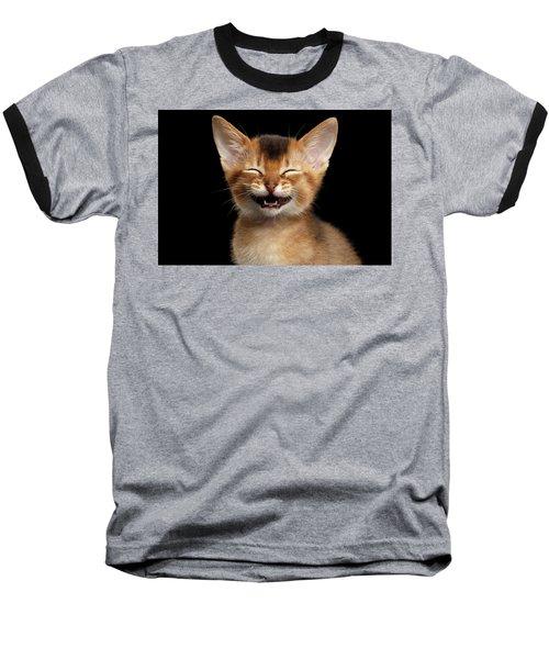 Laughing Kitten  Baseball T-Shirt by Sergey Taran