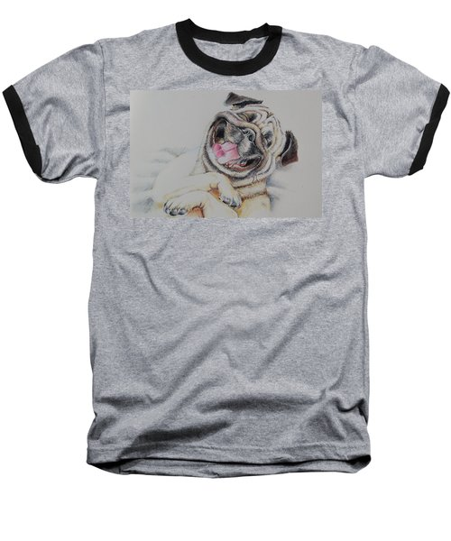 Laughing Pug Baseball T-Shirt