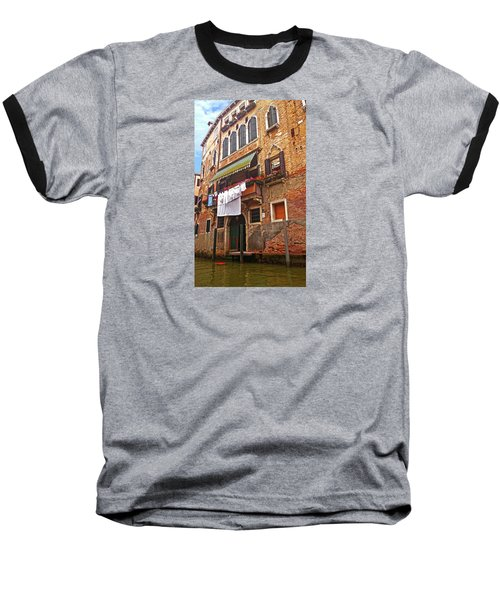 Baseball T-Shirt featuring the photograph Laundry Drying In Venice by Anne Kotan