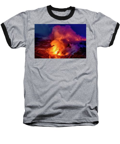 Lava And Ocean At Dawn Baseball T-Shirt by Allen Biedrzycki