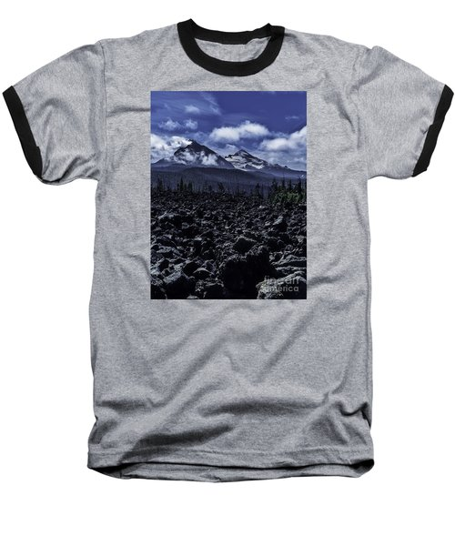 Baseball T-Shirt featuring the photograph Lava Below The Sisters by Nancy Marie Ricketts