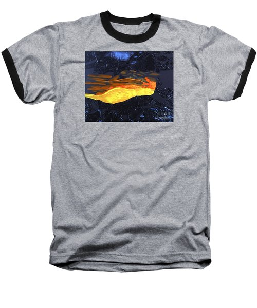 Baseball T-Shirt featuring the painting Lava Flow by Karen Nicholson