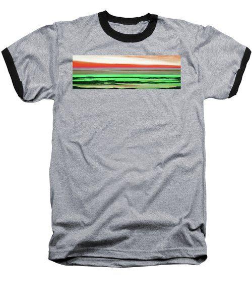 Lava Rock Abstract Panoramic Sunset In Red And Green Baseball T-Shirt