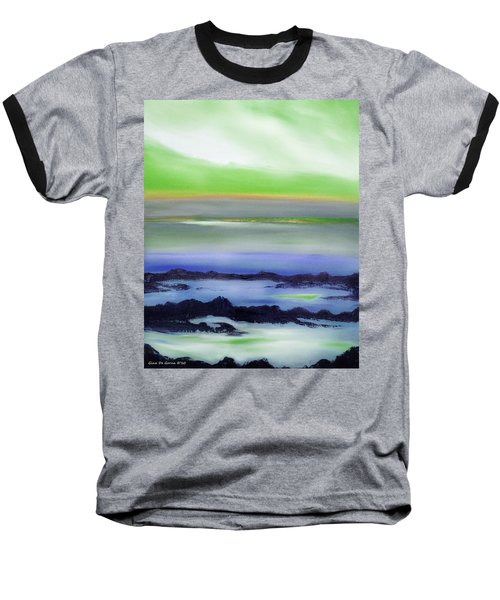 Lava Rock Abstract Sunset In Blue And Green Baseball T-Shirt