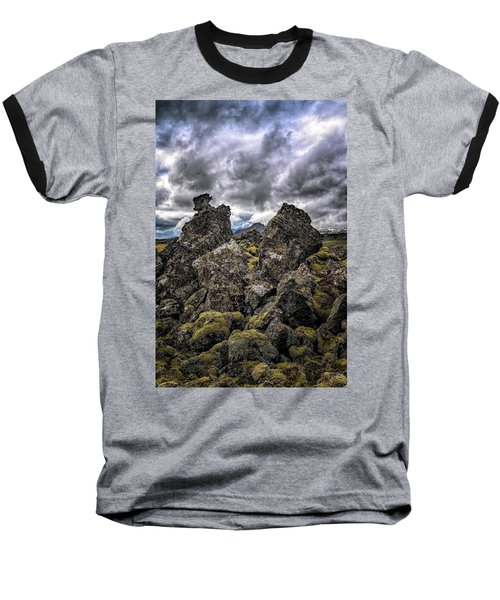 Lava Rock And Clouds Baseball T-Shirt