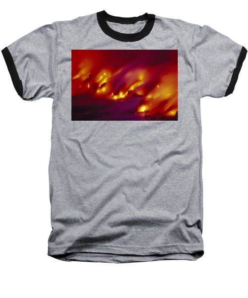 Lava Up Close Baseball T-Shirt by Ron Dahlquist - Printscapes