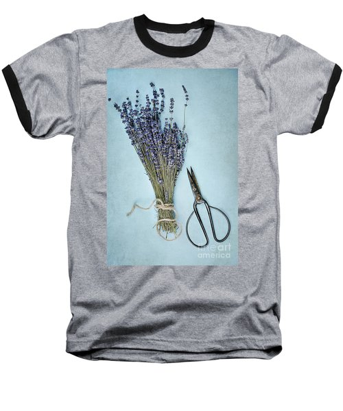 Baseball T-Shirt featuring the photograph Lavender And Antique Scissors by Stephanie Frey