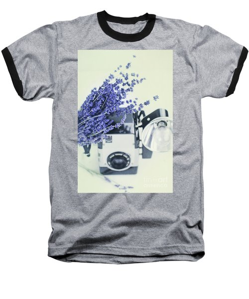 Lavender And Kodak Brownie Camera Baseball T-Shirt by Stephanie Frey