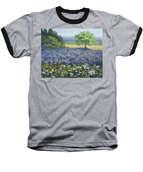 Baseball T-Shirt featuring the painting Lavender And Wildflowers by Karen Ilari