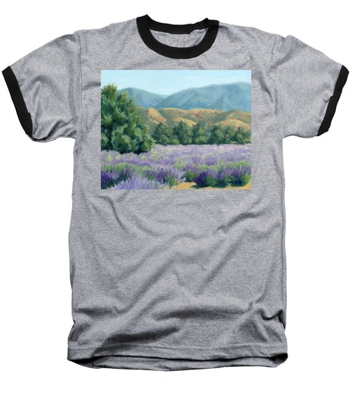 Baseball T-Shirt featuring the painting Lavender, Blue And Gold by Sandy Fisher