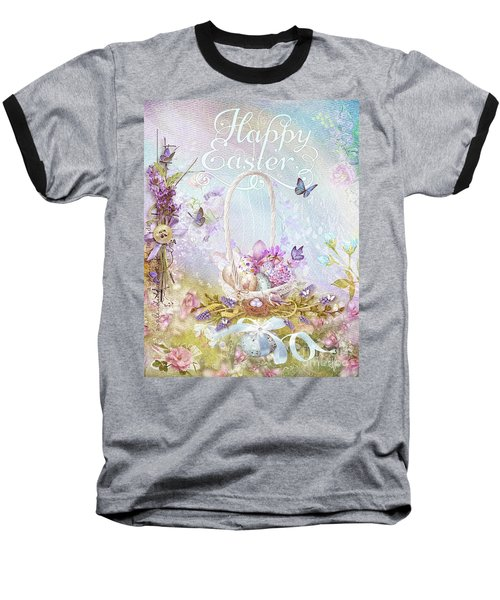 Baseball T-Shirt featuring the mixed media Lavender Easter by Mo T
