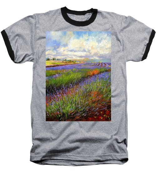 Lavender Field Baseball T-Shirt