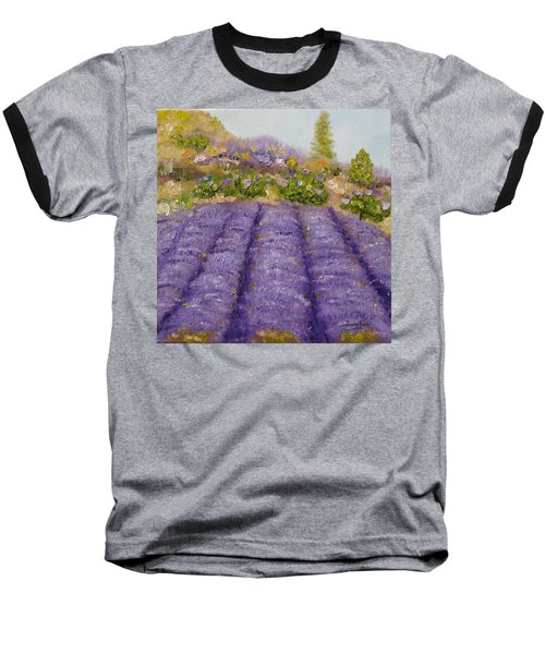 Lavender Field Baseball T-Shirt by Judith Rhue