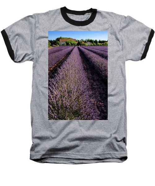 Lavender Field Provence France Baseball T-Shirt by Dave Mills