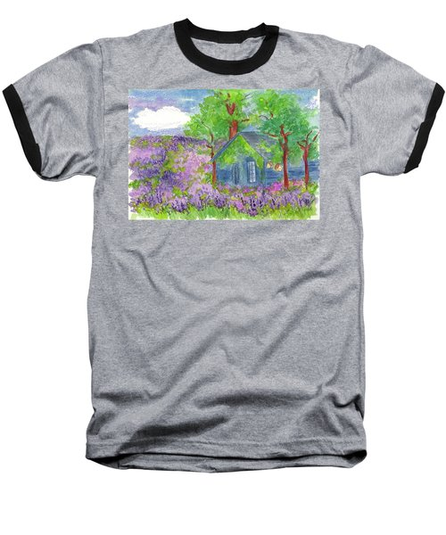 Baseball T-Shirt featuring the painting Lavender Fields by Cathie Richardson