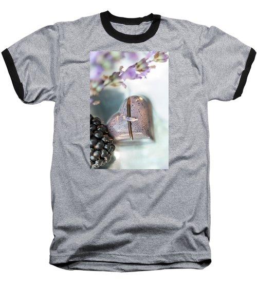Lavender Heart Baseball T-Shirt by Sabine Edrissi