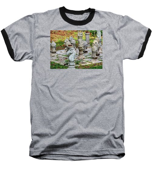 Lawn Chess Baseball T-Shirt by Chris Anderson