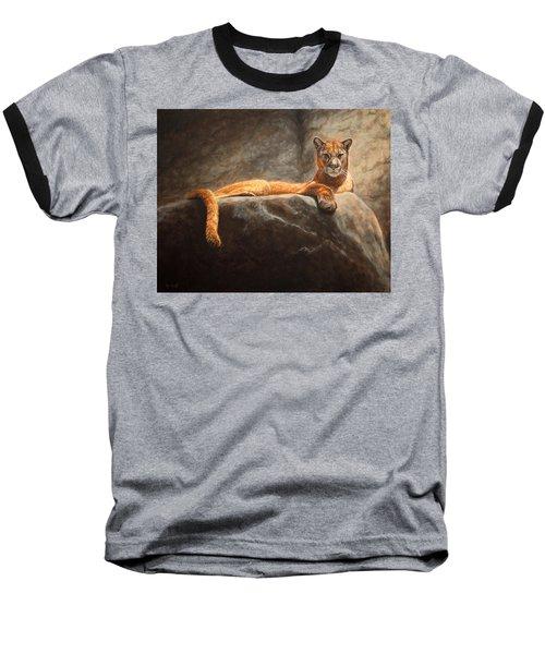 Laying Cougar Baseball T-Shirt