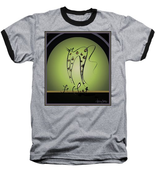 Le Chat - Green And Gold Baseball T-Shirt