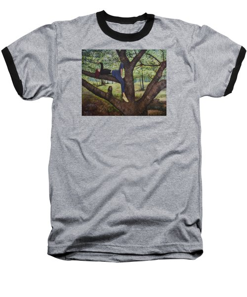 Baseball T-Shirt featuring the painting Lea Henry And The Henry Tree by Ron Richard Baviello