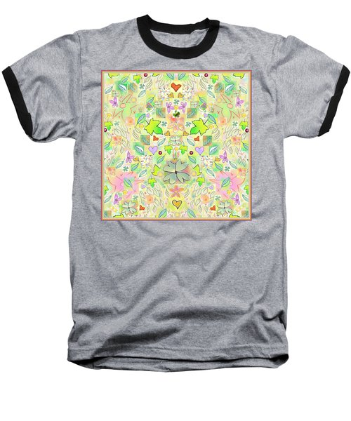 Leaf And Flower And Heart Pattern  Baseball T-Shirt