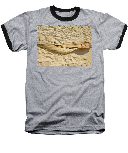 Baseball T-Shirt featuring the digital art Leaf In The Sand by Francesca Mackenney