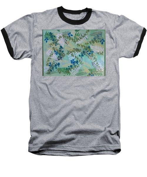 Leafy Floor Cloth Baseball T-Shirt by Judith Espinoza