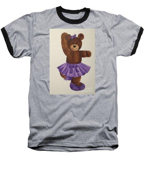 Baseball T-Shirt featuring the painting Leah's Ballerina Bear 2 by Tamir Barkan