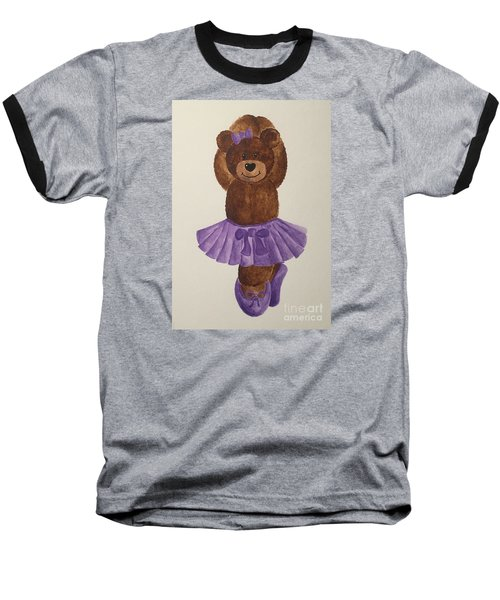 Baseball T-Shirt featuring the painting Leah's Ballerina Bear 3 by Tamir Barkan