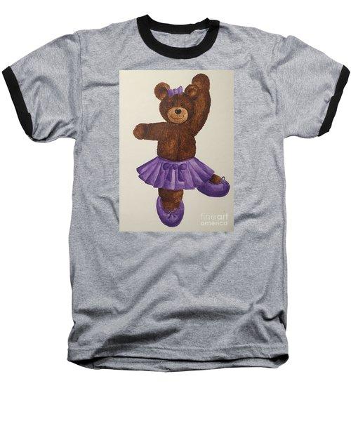 Baseball T-Shirt featuring the painting Leah's Ballerina Bear 5 by Tamir Barkan