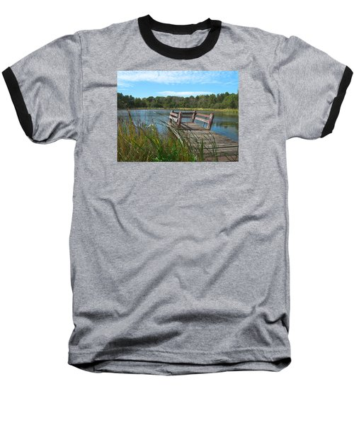 Leaning Pier At Pine Lake Baseball T-Shirt by Cedric Hampton