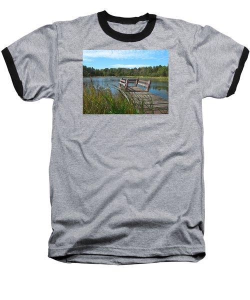 Leaning Pier At Pine Lake Baseball T-Shirt