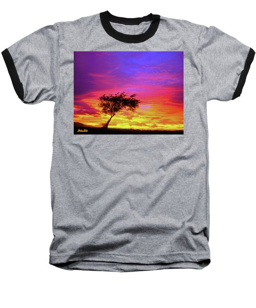 Leaning Tree At Sunset Baseball T-Shirt by Bob and Nadine Johnston