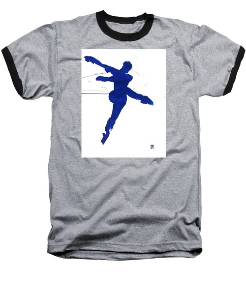 Baseball T-Shirt featuring the painting Leap Brush Blue 1 by Shungaboy X