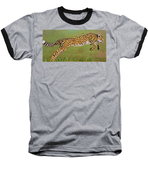 Leaping Cheetah Baseball T-Shirt