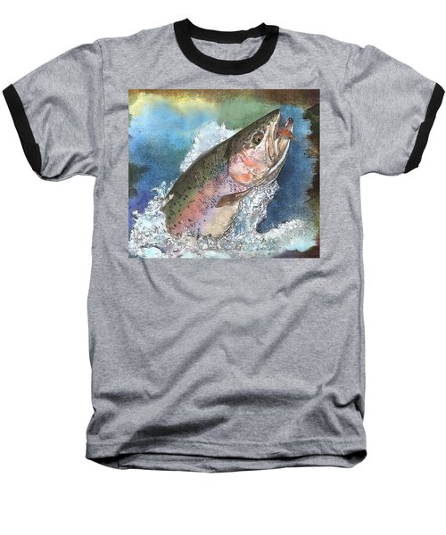 Leaping Rainbow Trout Baseball T-Shirt