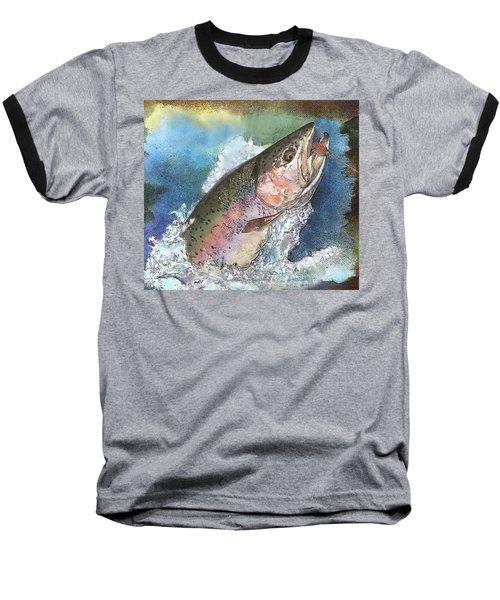Leaping Rainbow Trout Baseball T-Shirt