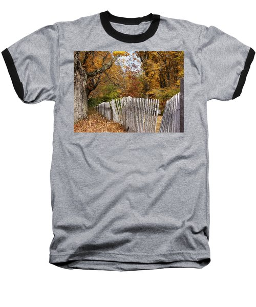 Leaves Along The Fence Baseball T-Shirt by Lois Lepisto