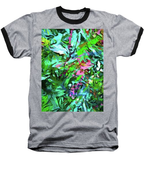 Leaves Buds Green Pink Baseball T-Shirt