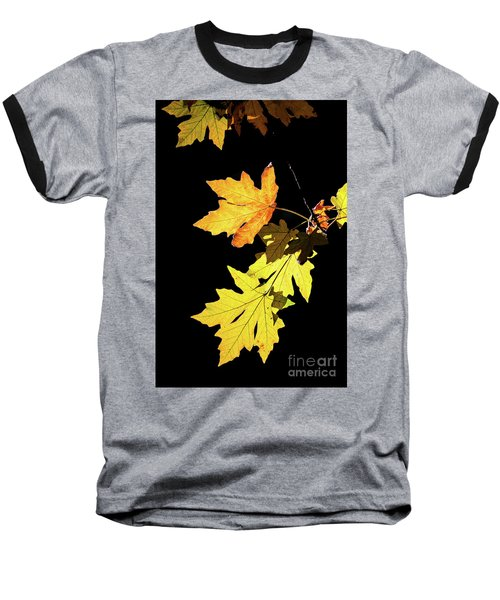 Leaves On Black Baseball T-Shirt