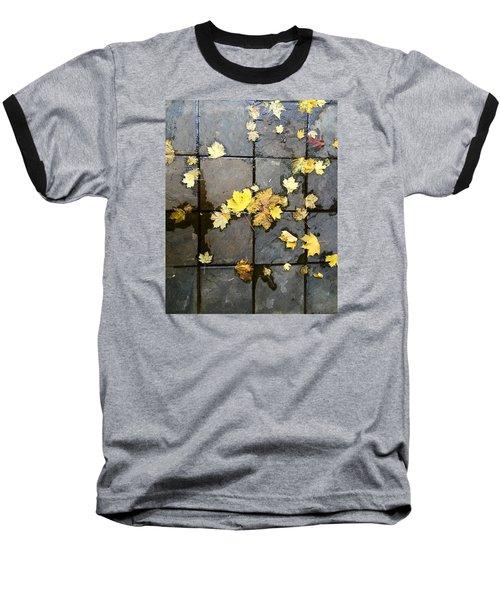 Leaves On Slate Baseball T-Shirt by Suzanne Lorenz
