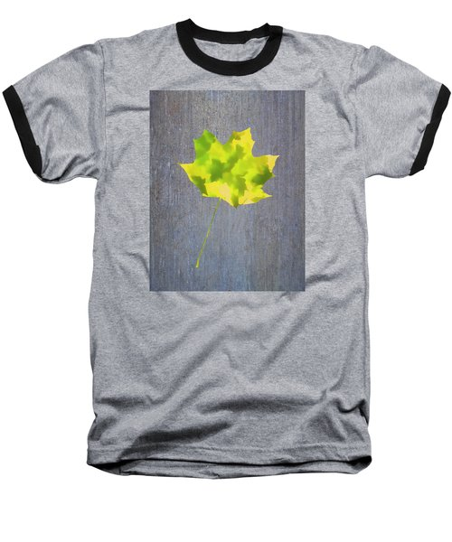 Leaves Through Maple Leaf On Texture 2 Baseball T-Shirt by Gary Slawsky
