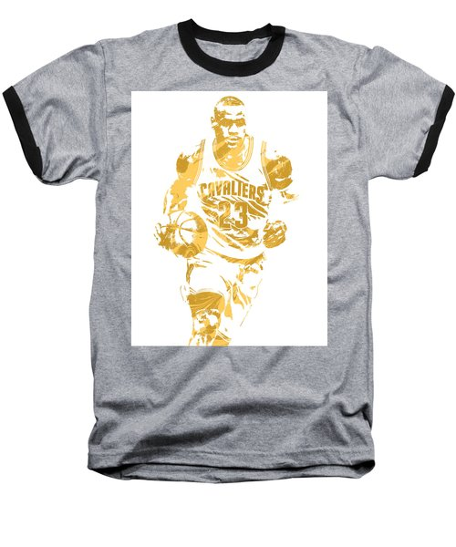 Lebron James Cleveland Cavaliers Pixel Art 7 Baseball T-Shirt by Joe Hamilton