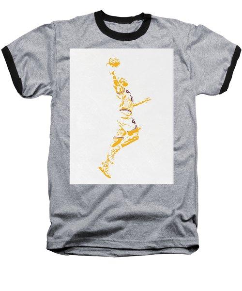Lebron James Cleveland Cavaliers Pixel Art Baseball T-Shirt by Joe Hamilton