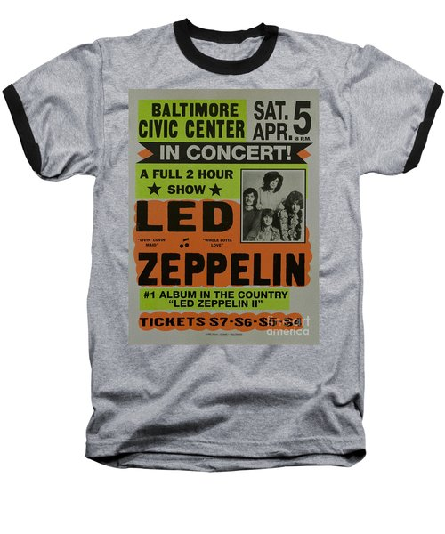 Led Zeppelin Live In Concert At The Baltimore Civic Center Poster Baseball T-Shirt by R Muirhead Art