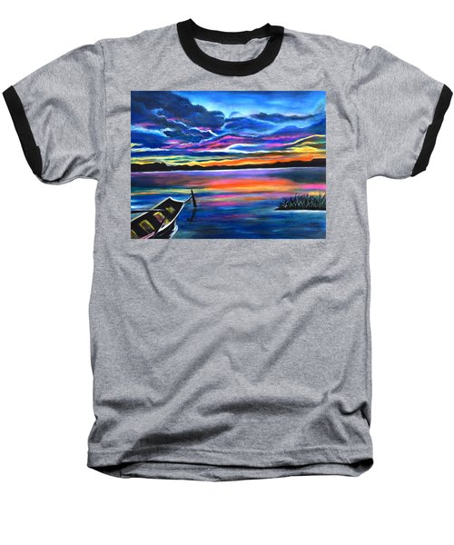Left Alone A Seascape Boat Painting At Sunset  Baseball T-Shirt
