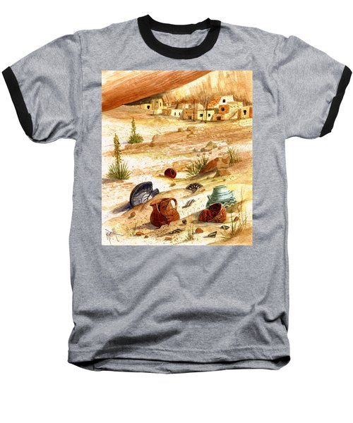 Baseball T-Shirt featuring the painting Left Behind - Indian Pottery by Marilyn Smith