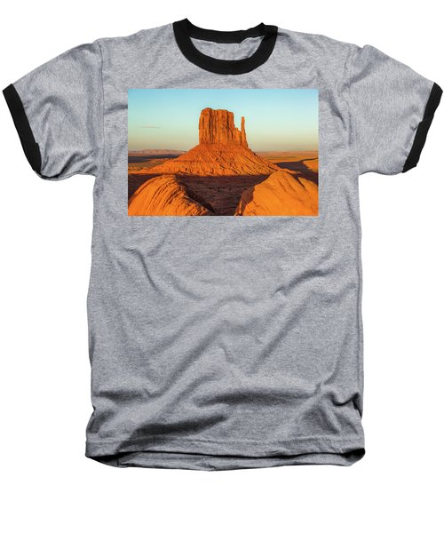 Left Mitten Sunset - Monument Valley Baseball T-Shirt
